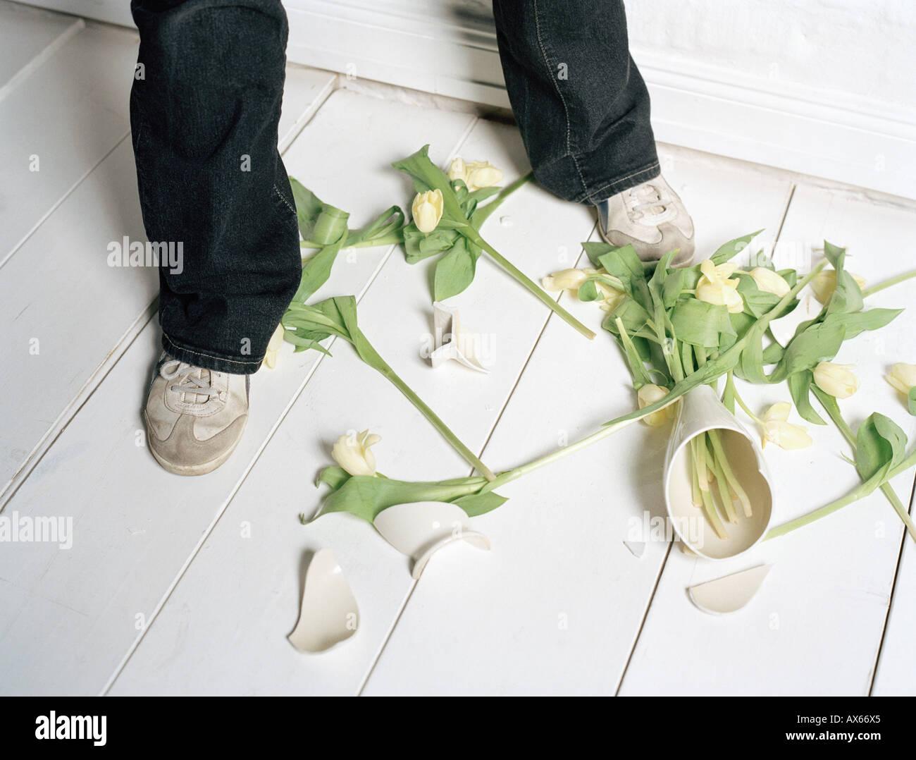 Broken vase and flowers on floor stock photo 9567012 alamy broken vase and flowers on floor reviewsmspy