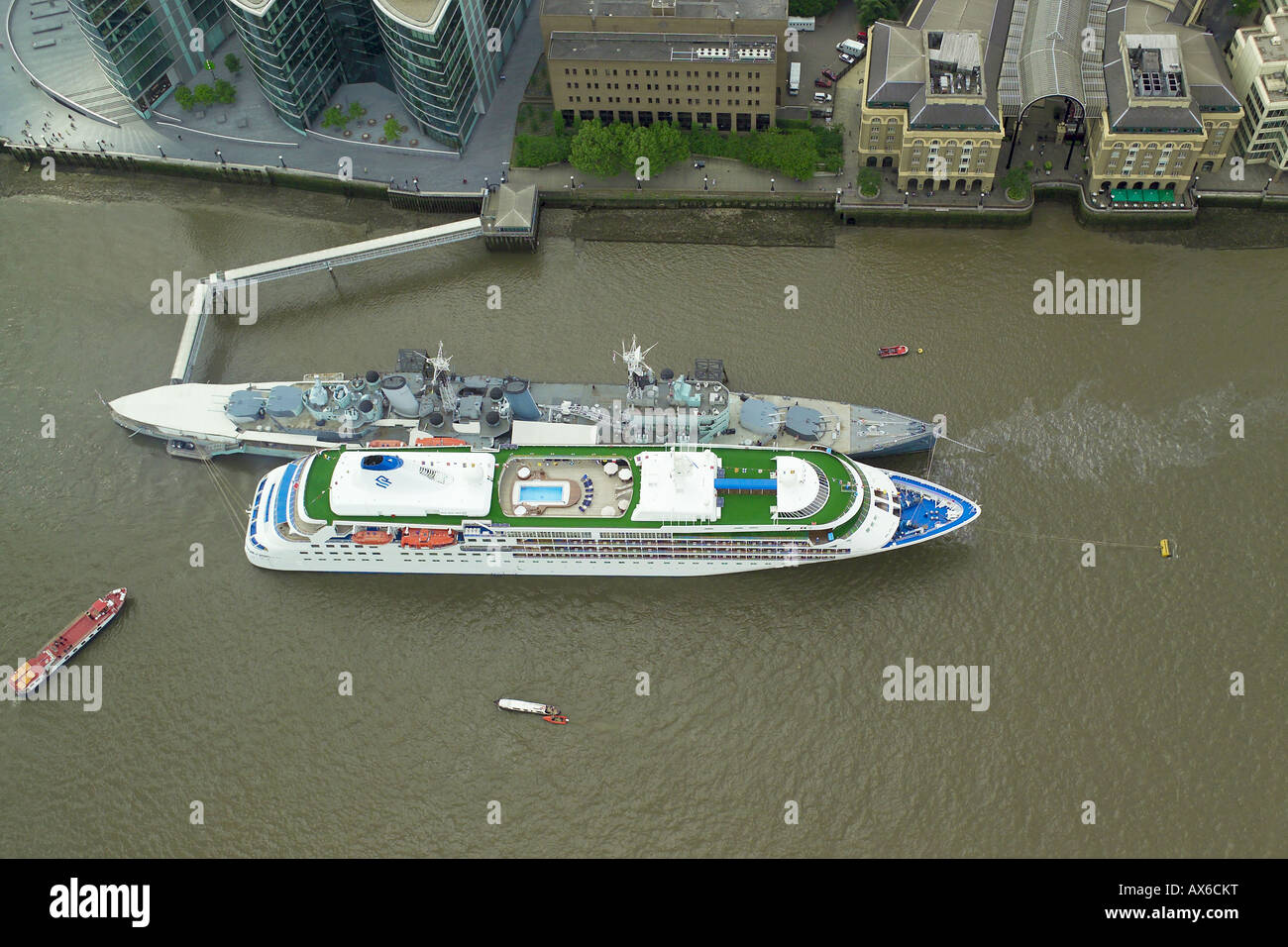 Aerial View Of The Cruise Ship Silver Cloud Moored By HMS Belfast - Cruise ship silver cloud