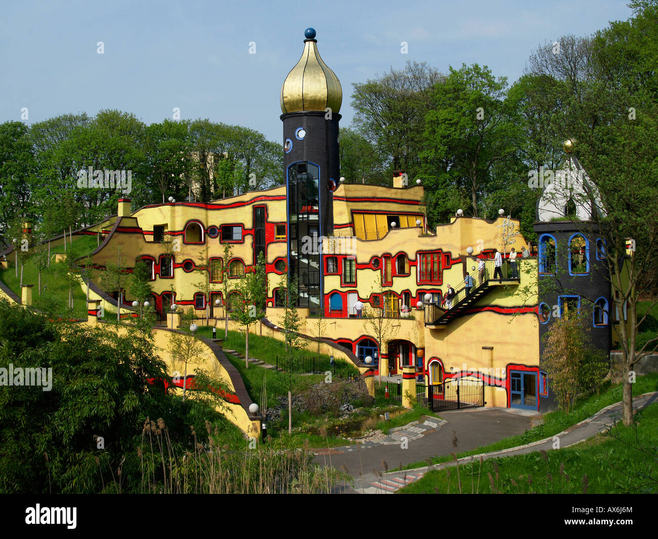 tourists at multicolored buildings in park grugapark essen germany stock photo royalty free. Black Bedroom Furniture Sets. Home Design Ideas