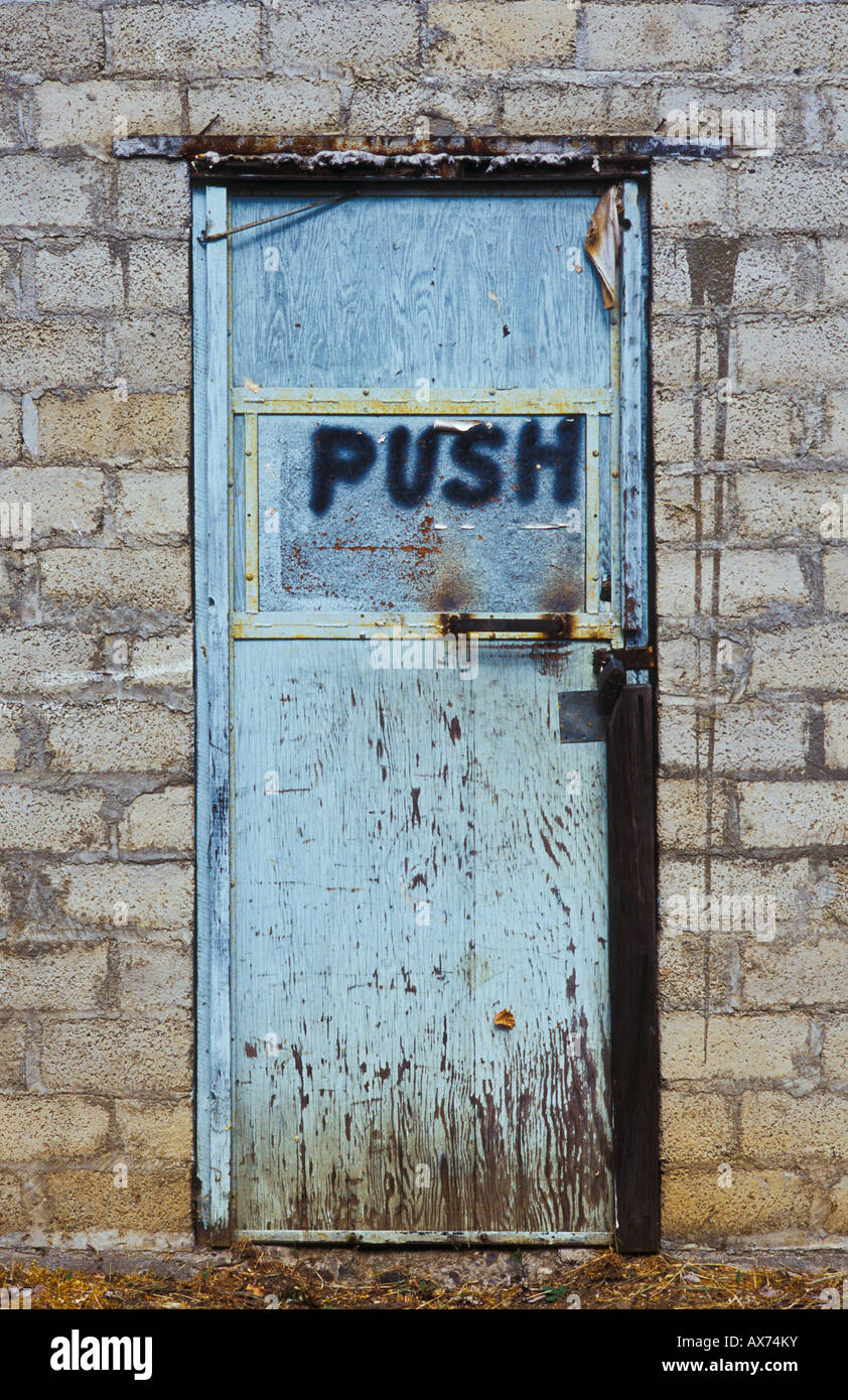 Door With Spray Painted Word PUSH McKee Bridge Lions Club Applegate Valley  Oregon