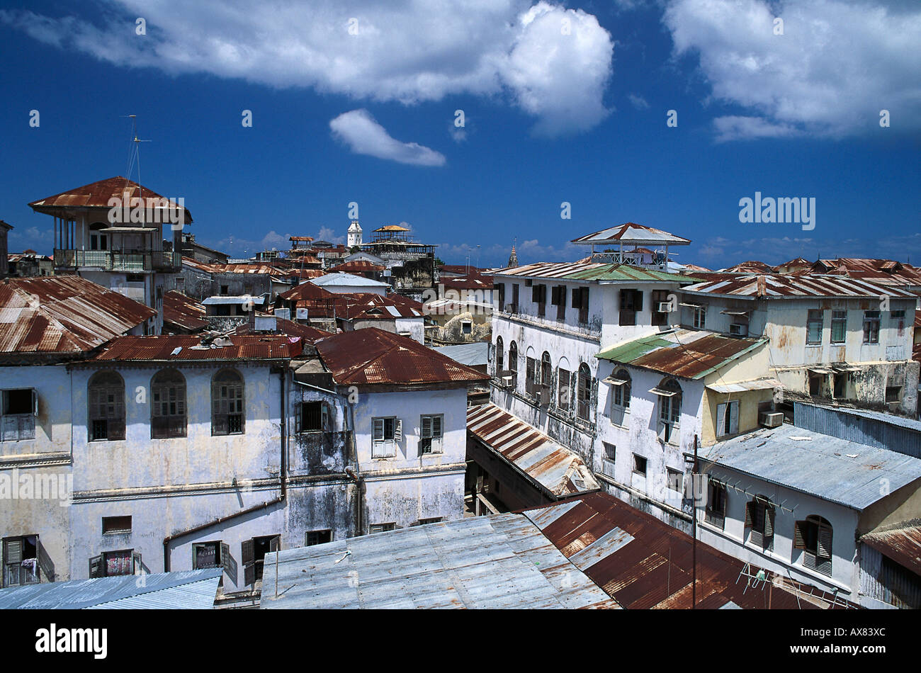 Stock Photo - The houses of the Old Town under blue sky, Zanzibar city ...