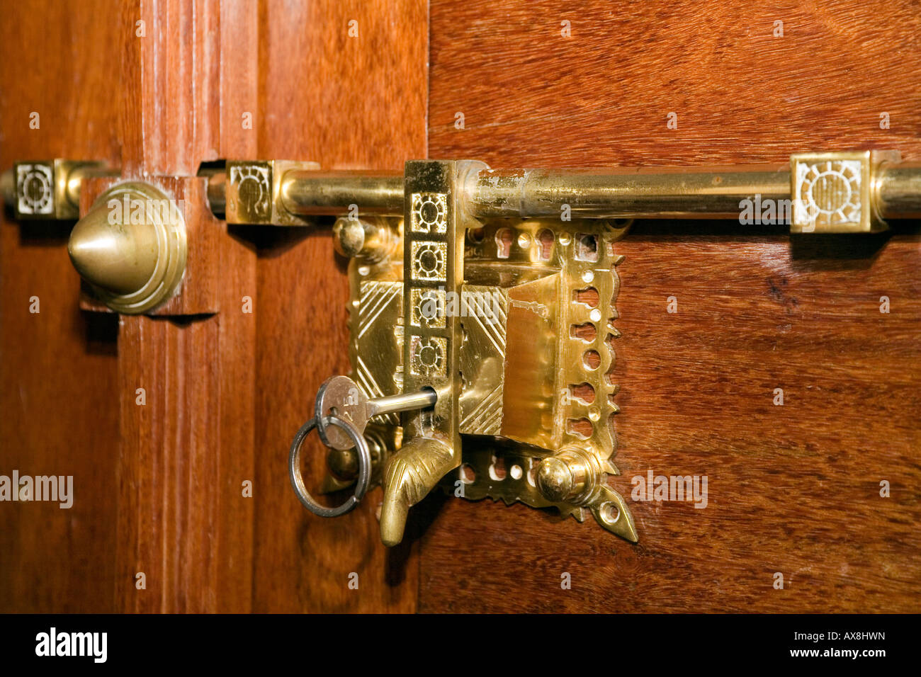 Antique Brass Door latch and Lock typical of traditional Keralite fittings  Kerala South India - Antique Brass Door Latch And Lock Typical Of Traditional Keralite
