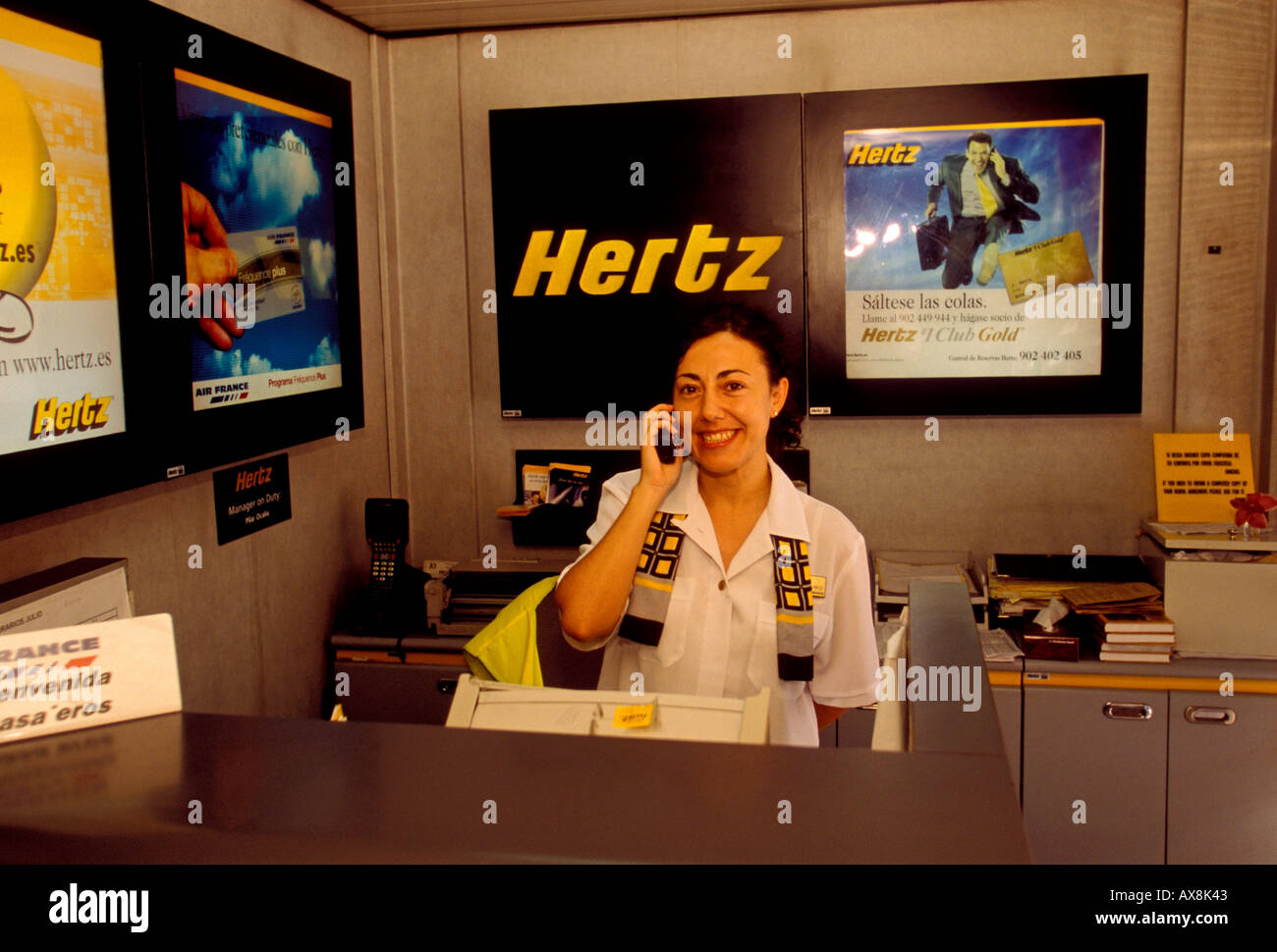 hertz car rental agency barajas international airport madrid stock photo royalty free image. Black Bedroom Furniture Sets. Home Design Ideas