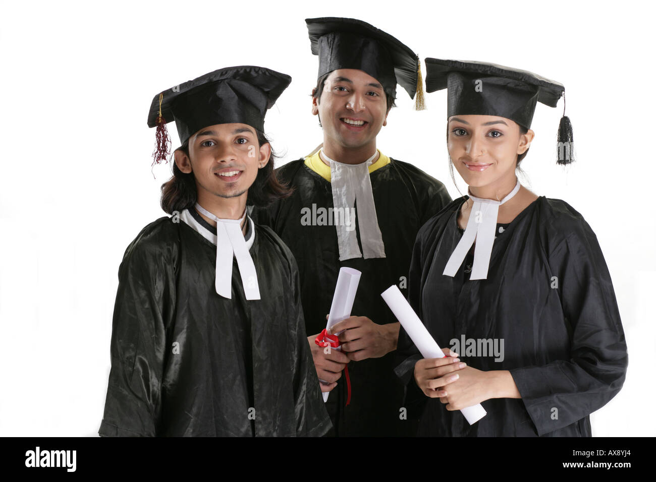 Portrait of college student in a convocation gown Stock Photo ...