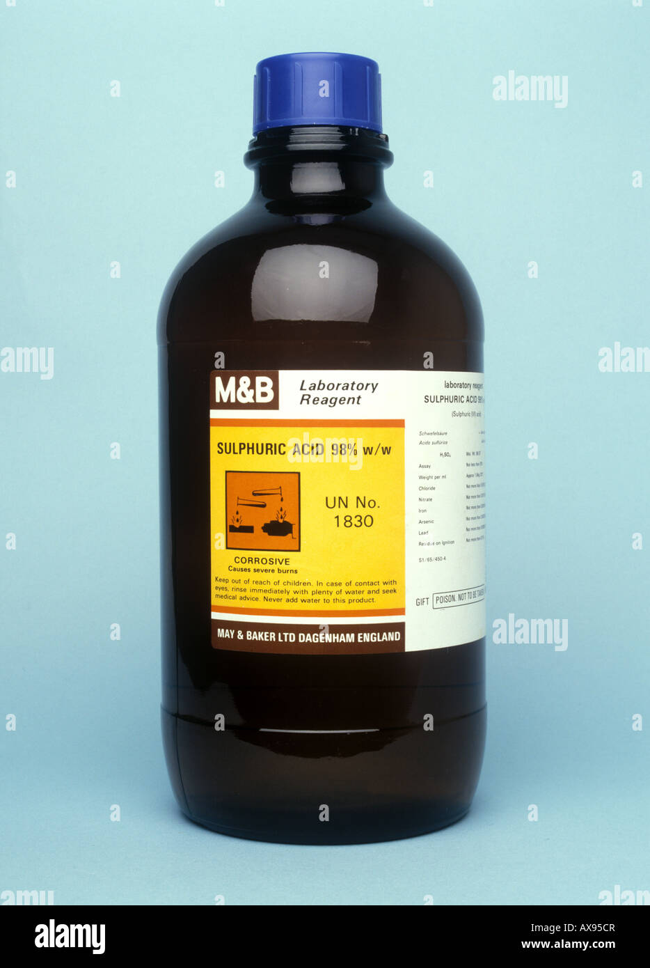 molar sulphuric acid in a bottle stock image