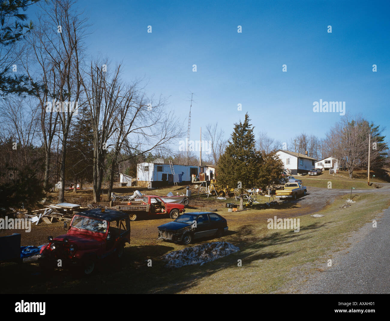Rural Ontario homes with old cars pickup trucks and junk in untidy ...