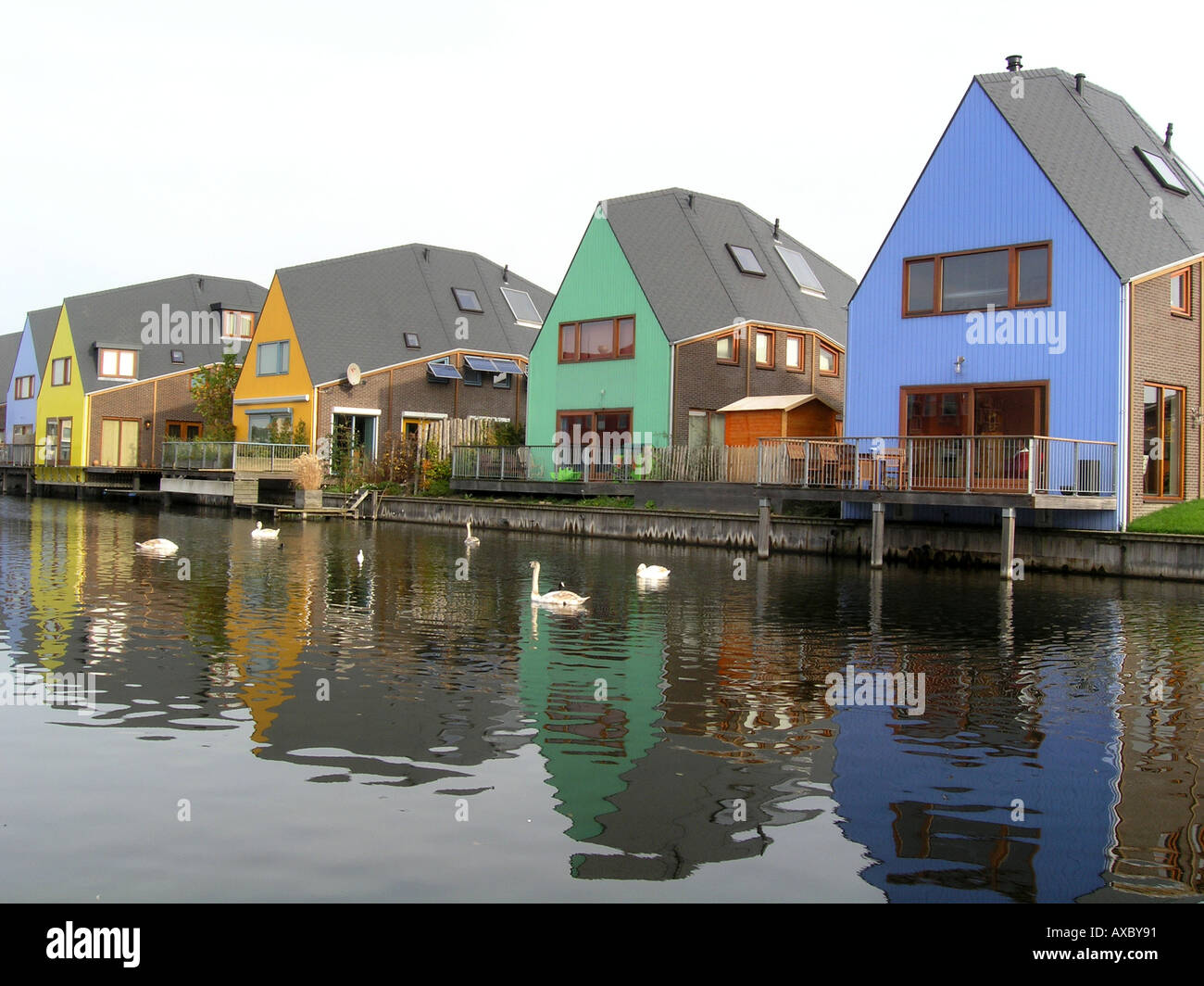 Residential homes by the water side in Almere Buiten ... Colorful Almere