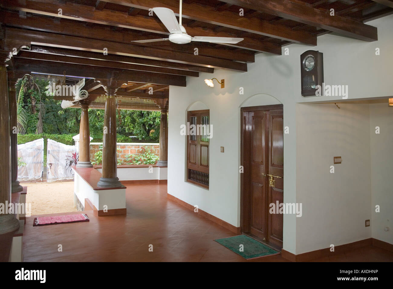 Part of airy verandah of keralite bungalow styled after for Verandah designs in india