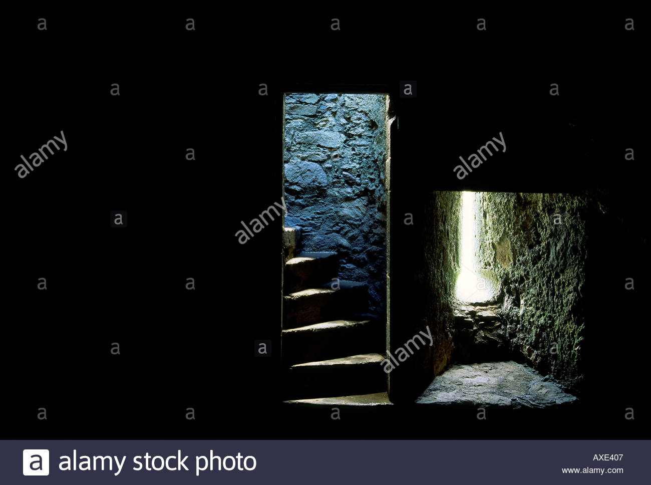 Window at night from inside - Stock Photo Step Steps Stairs Stair Stairway Doorway Door And Window Inside Stone Wall Dungeon Of Old Castle