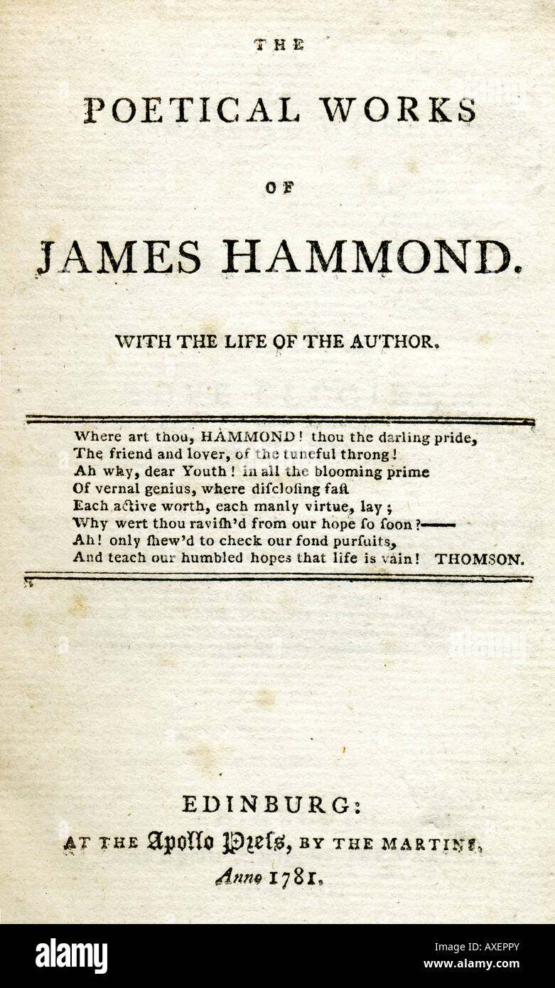 title page of an th century book of poems by james hammond  stock photo title page of an 18th century book of poems by james hammond 1781 published by the martins at the apollo press edinburgh