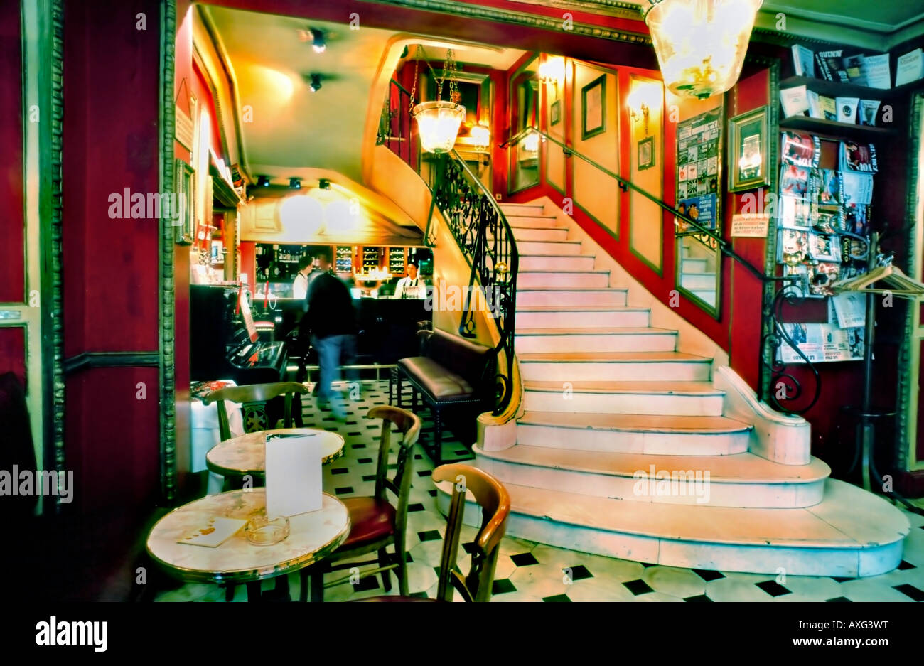 """paris france, """"le procope cafe"""" stairs interior """"marble staircase"""