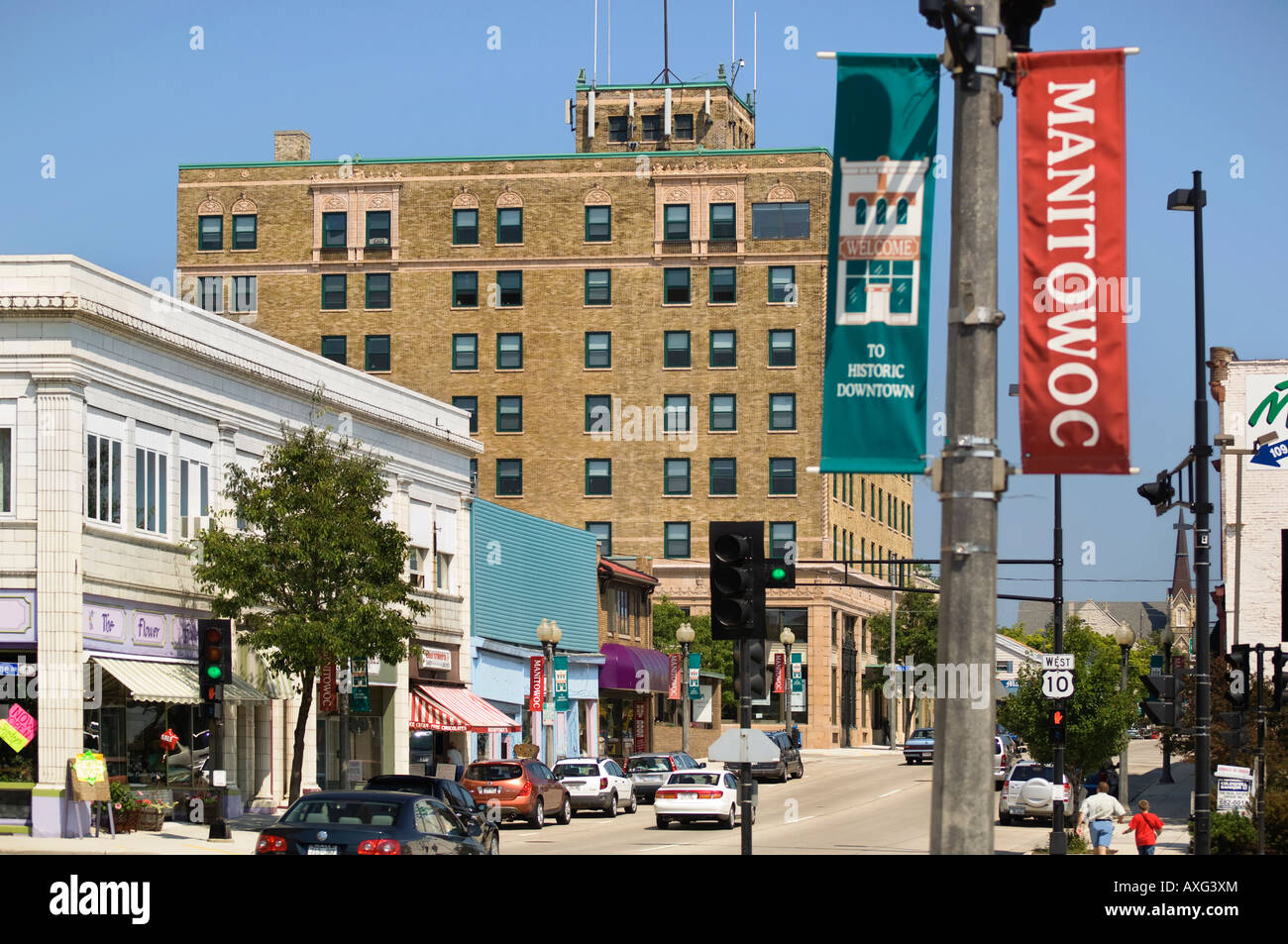 Downtown Area Of Manitowoc Wisconsin A Harbor Town On Lake ...