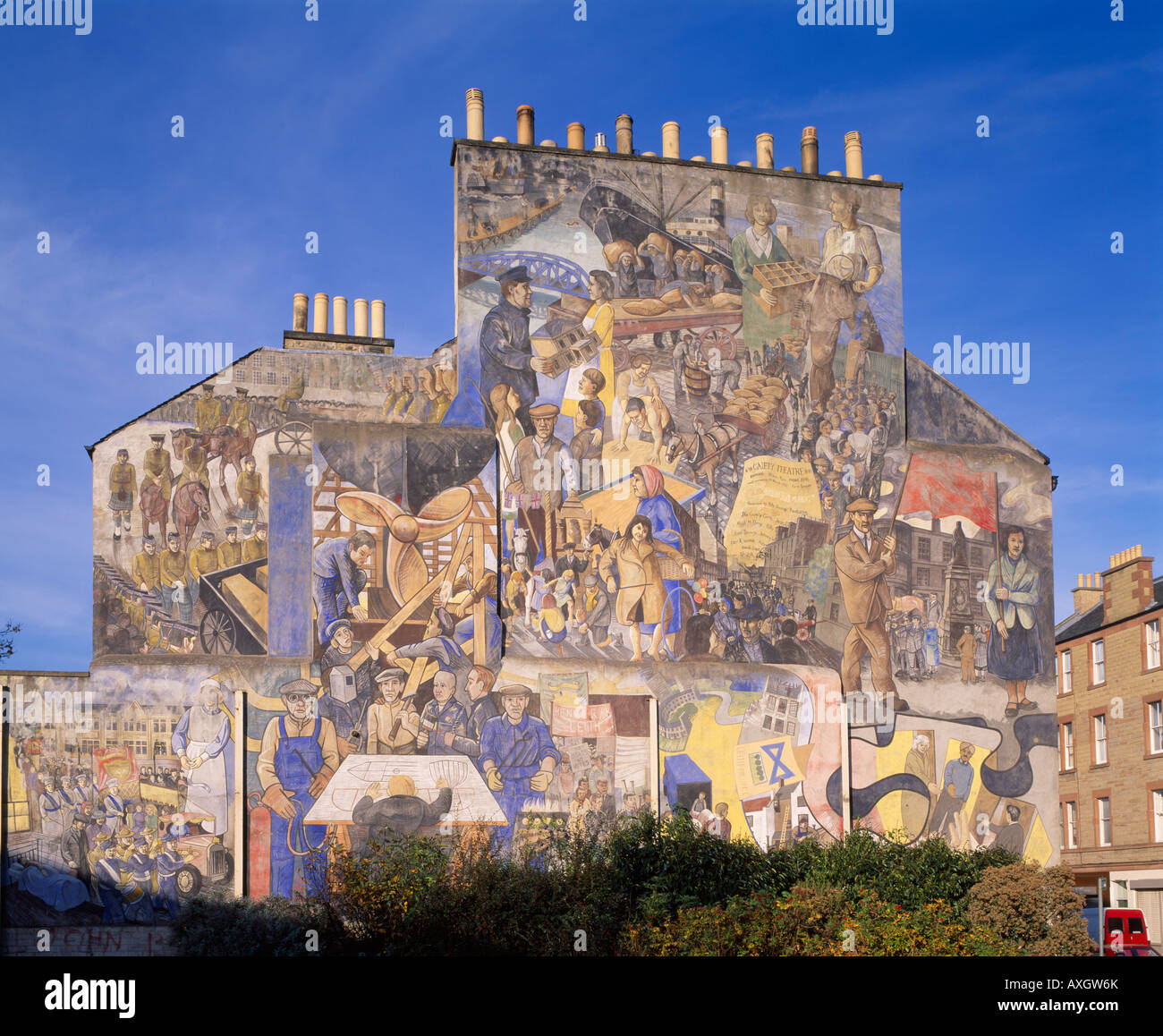 Leith edinburgh scotland uk mural on gable wall end for Edinburgh wall mural