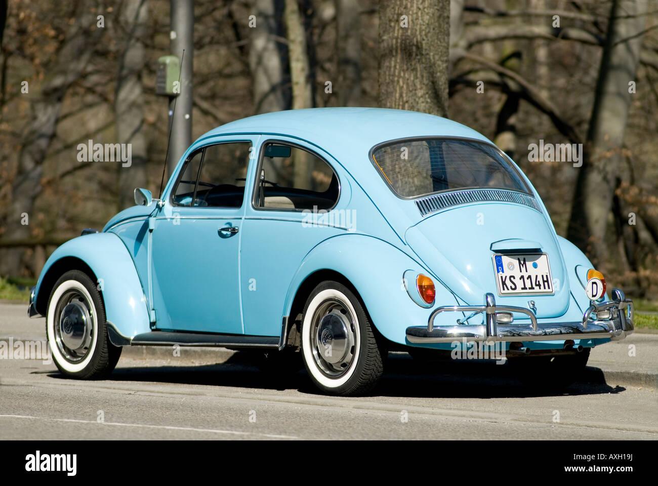 old light blue vw volkswagen kaefer beetle in munich bavaria germany stock photo royalty free. Black Bedroom Furniture Sets. Home Design Ideas