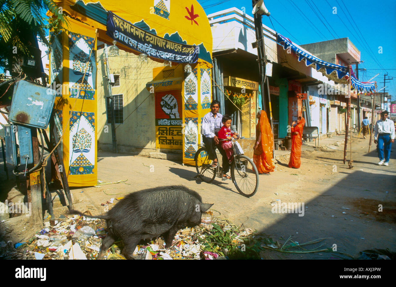 Indian Street Life In A Shabby Dirty Street Of Jaipur With