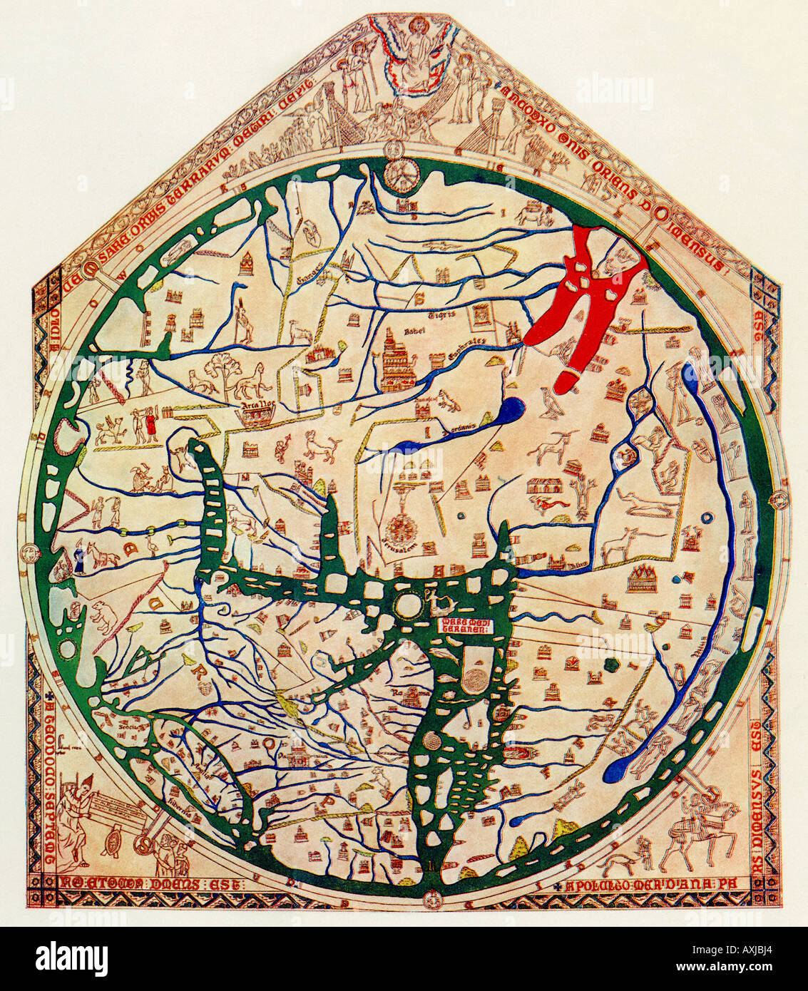 Hereford mappa mundi of 1280 showing jerusalem at the center hereford mappa mundi of 1280 showing jerusalem at the center europe is lower left africa is lower right gumiabroncs Images