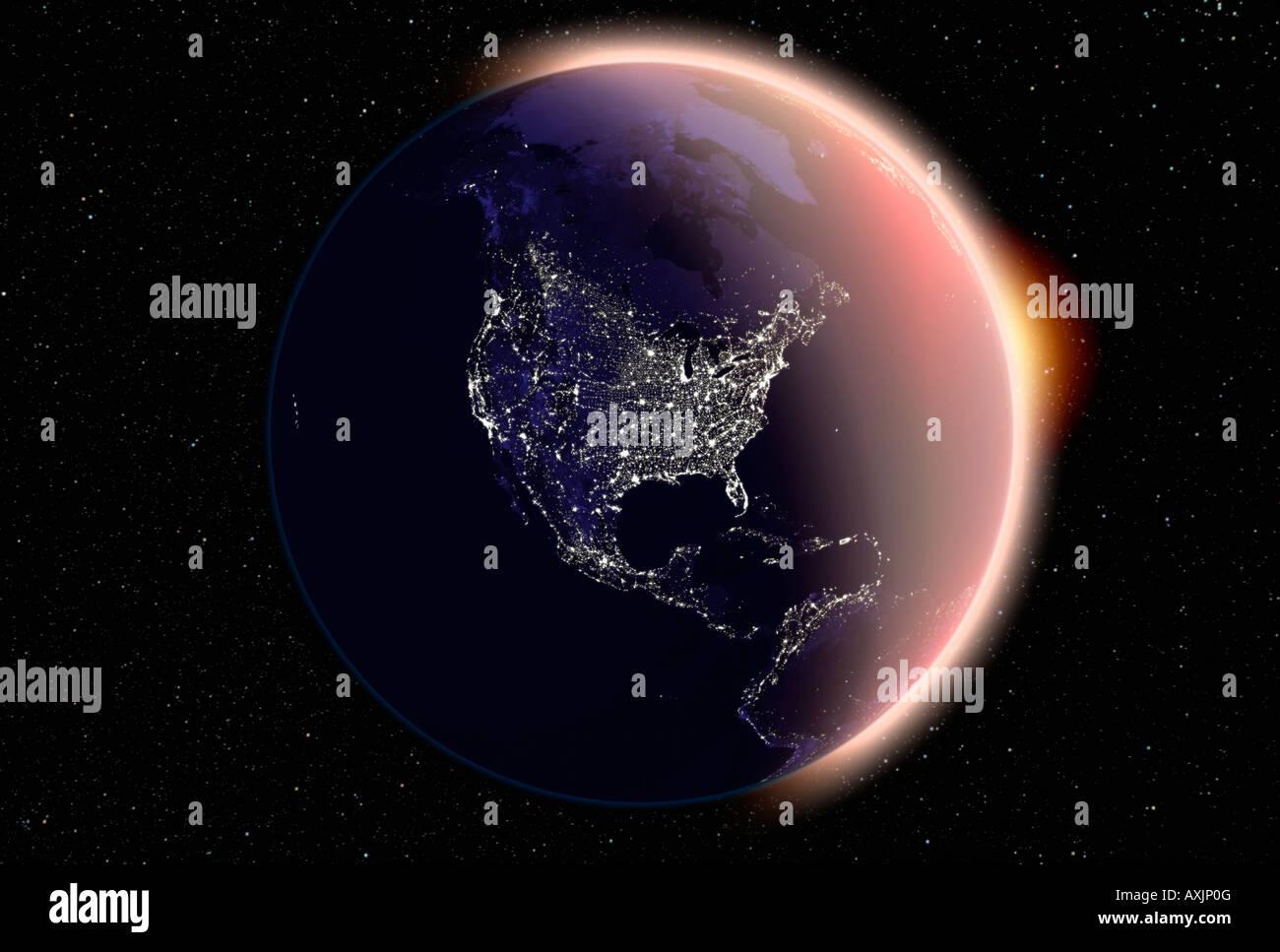 Night Satellite Photos Earth US Europe World Geologycom Northeast - Satellite map of se us at night