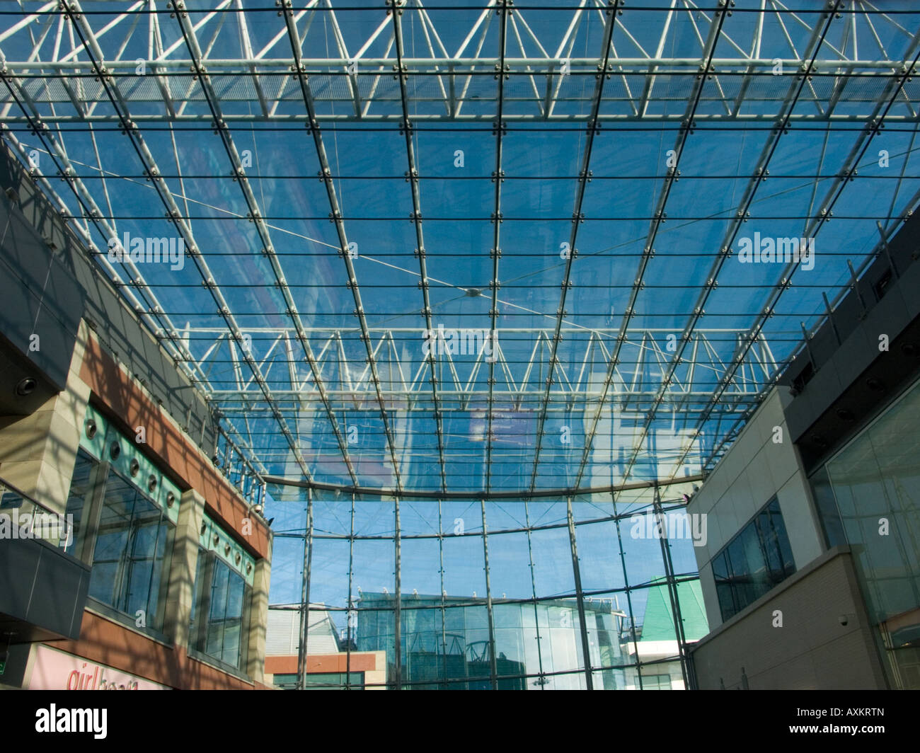 Glass Roof Of The Central Shopping Mall In The Winter Sunshine, Bullring,  Birmingham, West Midlands, England, UK