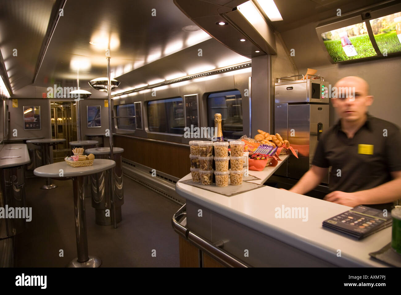 buffet carriage on the eurostar service to paris brussels train stock photo royalty free. Black Bedroom Furniture Sets. Home Design Ideas