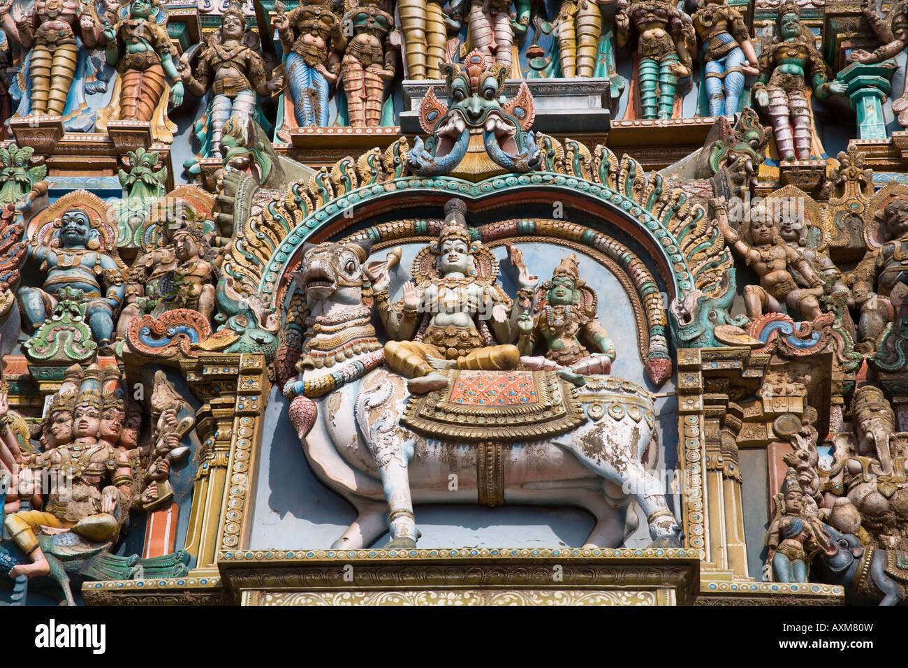 Carved Hindu Deity And Animal Figure, Meenakshi Temple, Nadu, India