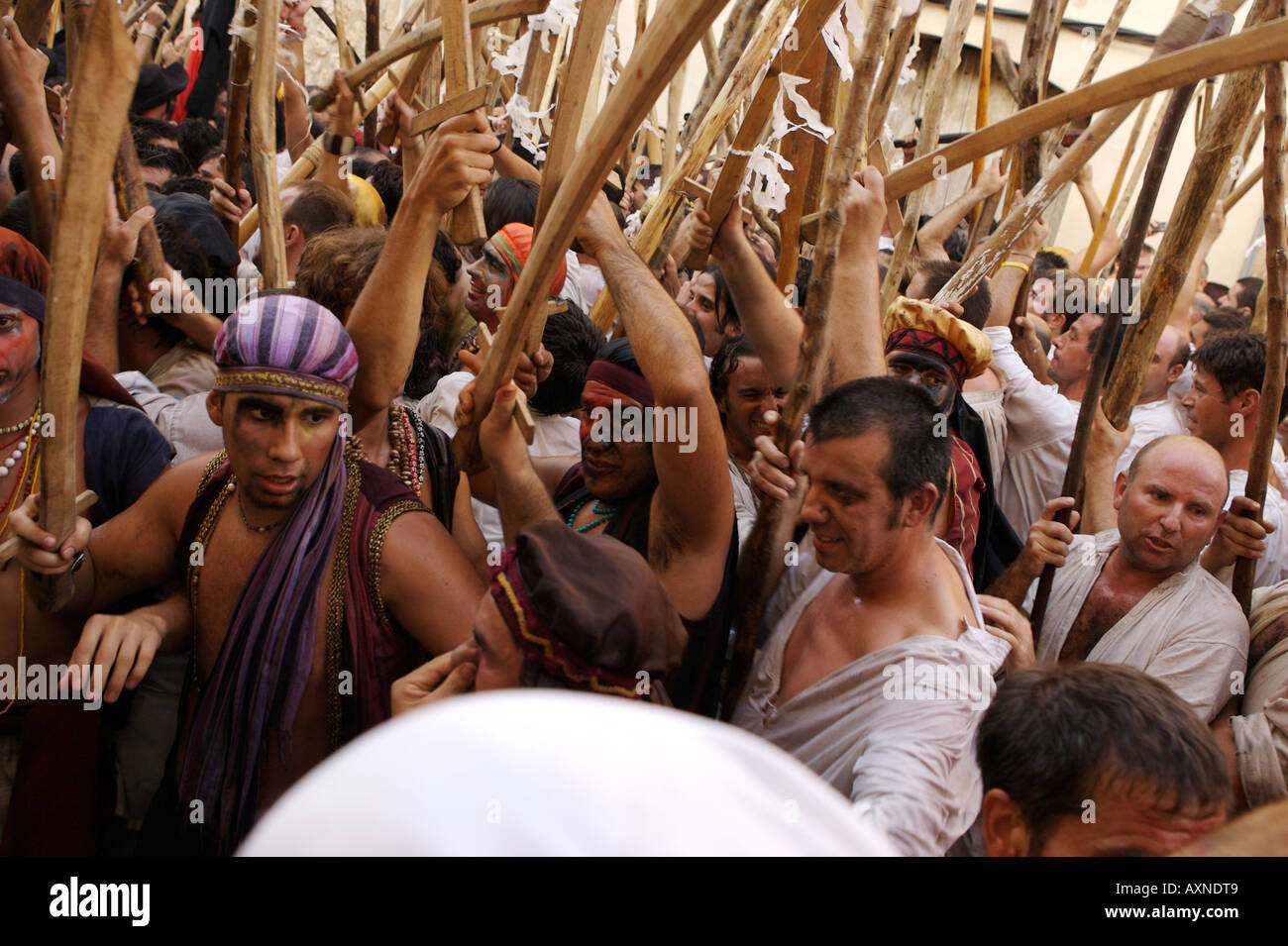 Moors and Christians fight it out in Pollensa, Majorca Stock Photo ...