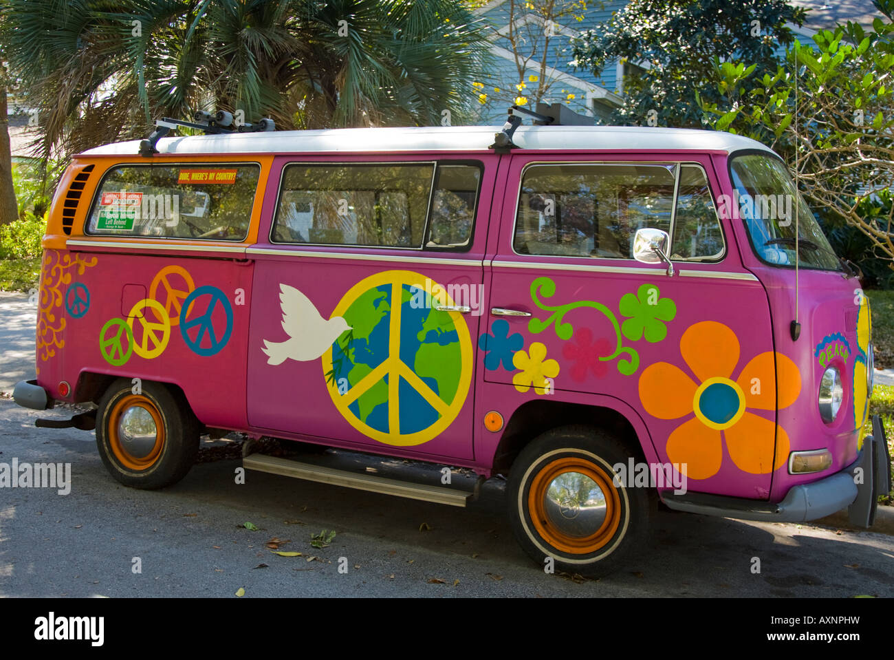 vintage vw hippie bus on a street in clearwater florida. Black Bedroom Furniture Sets. Home Design Ideas