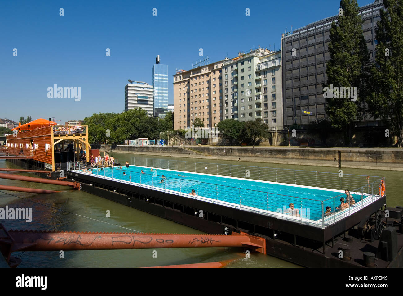 vienna swimming pool on the danube channel stock photo royalty free image 9654472 alamy