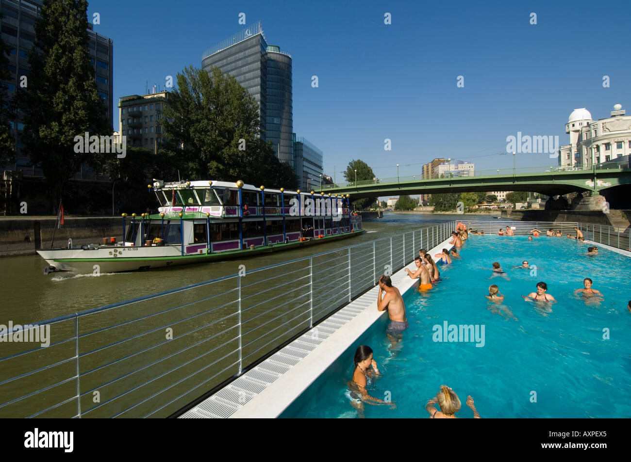 vienna swimming pool on the danube channel stock photo 9654564 alamy
