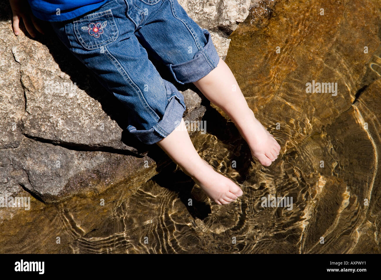 a little girls toes testing the water stock photo: 9656688 - alamy