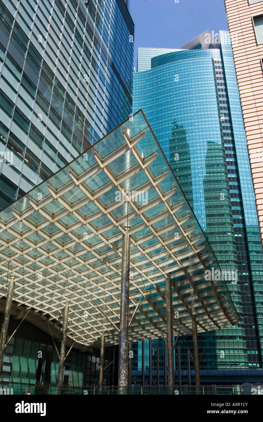 Modern design of office buildings with curved canopy in the Shiodome district of Tokyo Japan & Modern design of office buildings with curved canopy in the ...