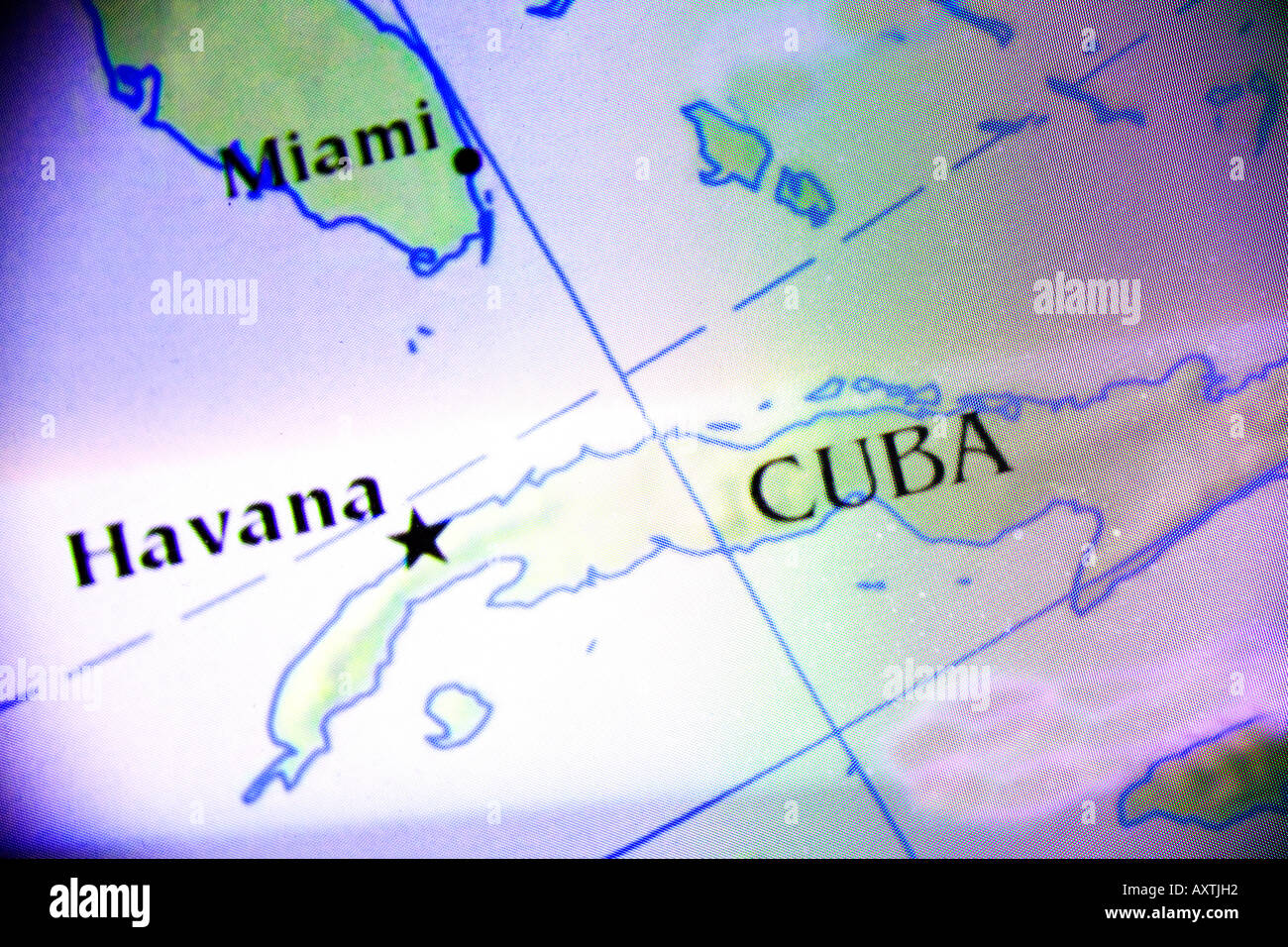Closeup Map Showing Cuba And Southern Florida Of The United - Southern florida map