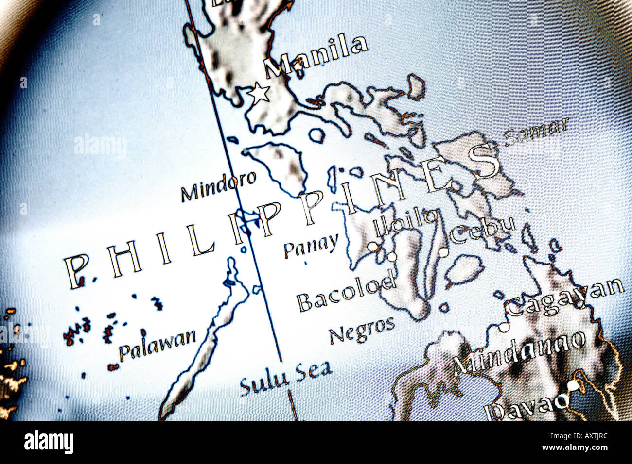 Closeup map of the country the Philippines located in Asia Stock