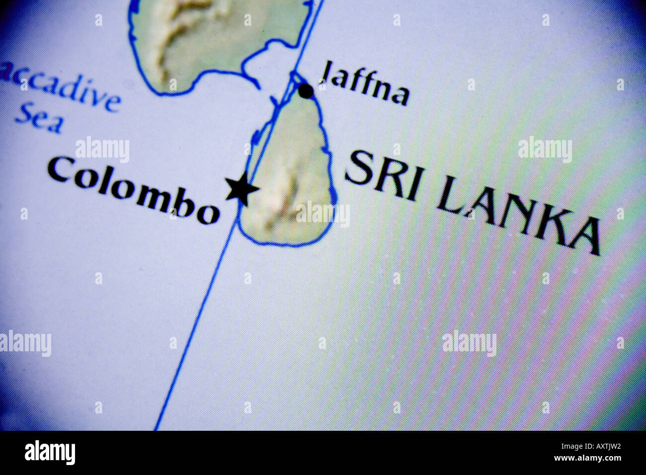 Closeup Map Of The Country Sri Lanka Located In Southern Asia - Where is sri lanka located