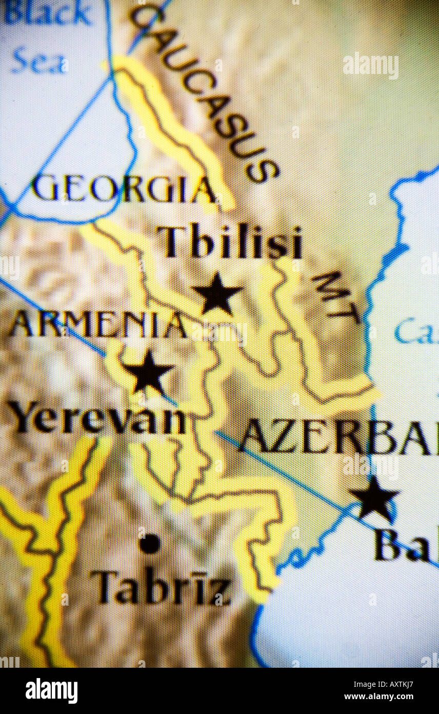 Closeup map showing the countries Armenia Georgia and Azerbaijan