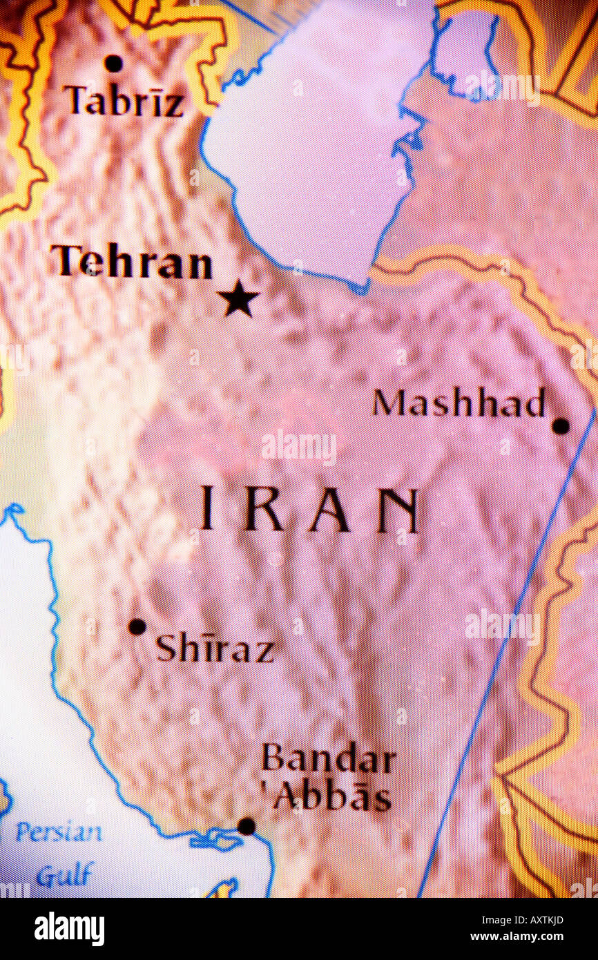 Closeup map of the country Iran located in the Middle East Stock
