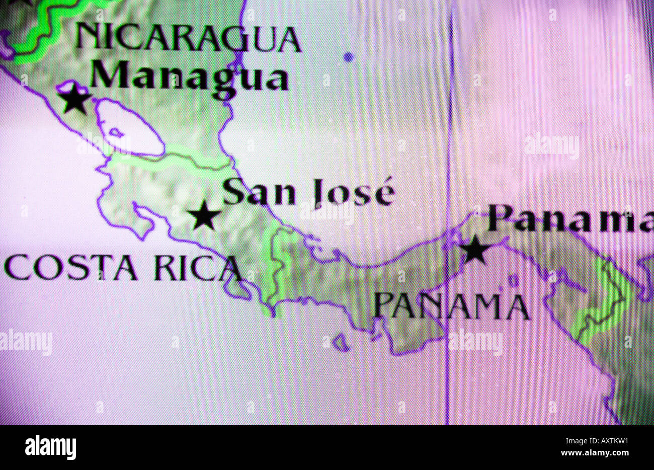 Closeup map of the countries Nicaragua Costa Rica and Panama in