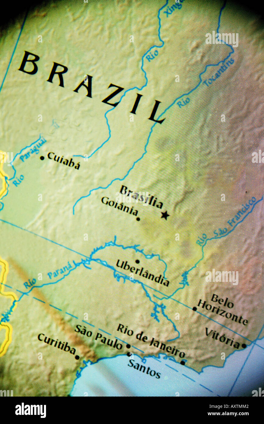 Closeup map of the country of Brazil in South America Stock Photo