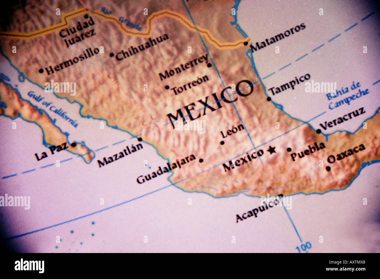 Current map showing the country of Mexico