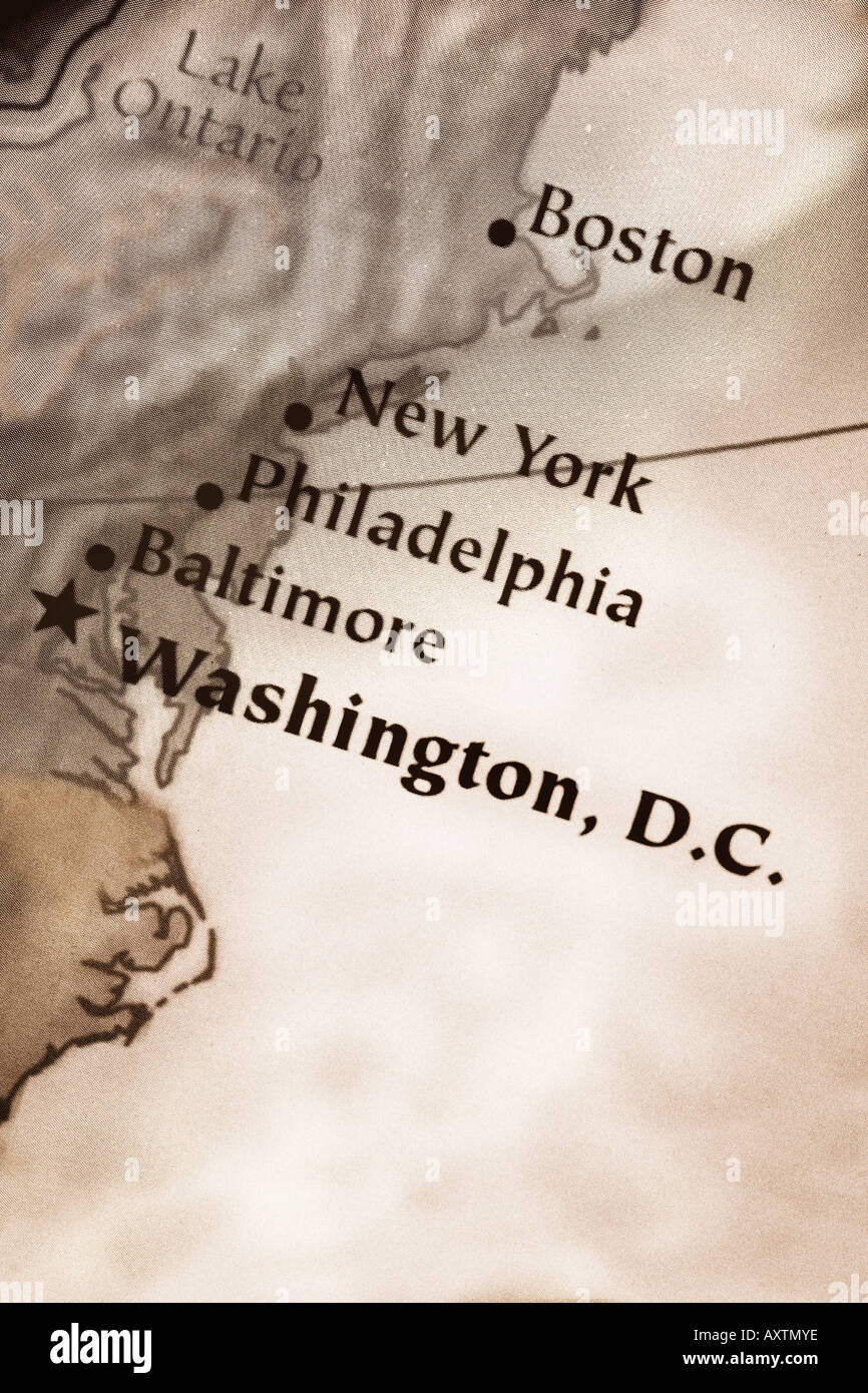 Map Of East Coast Of United States Of America Showing The Cities - Washington dc baltimore map