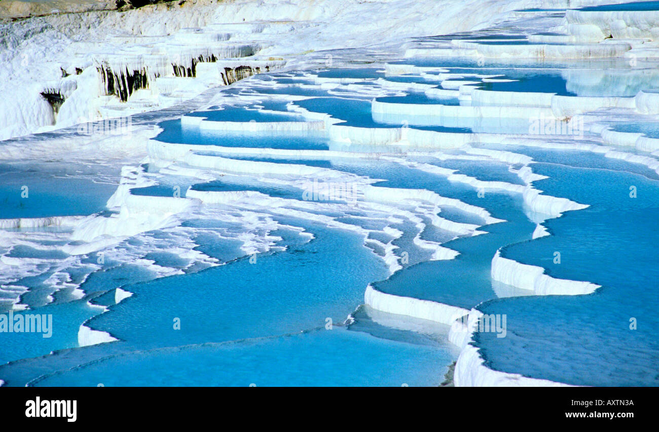 The calcified water at Pamukkale, Turkey, also known as the cotton ...