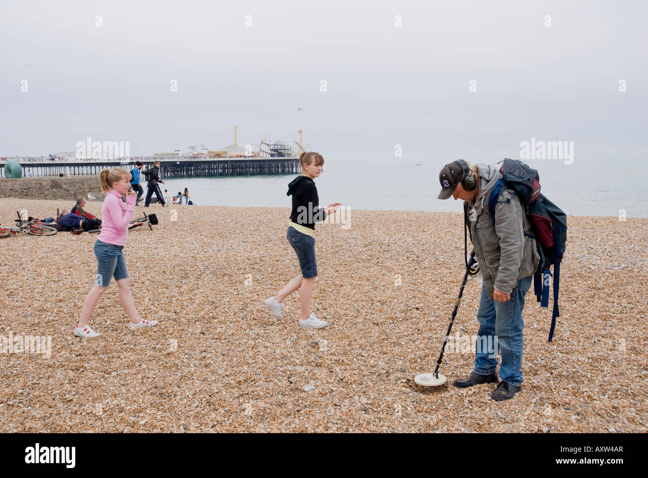 Jew Detector: Man With Metal Detector, On Brighton Beach Stock Photo