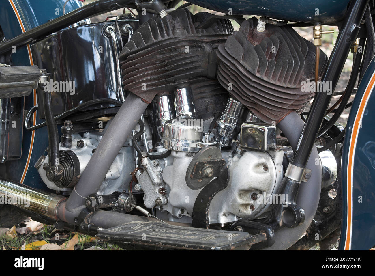 Classic Harley Davidson Flathead engine Stock Photo ...