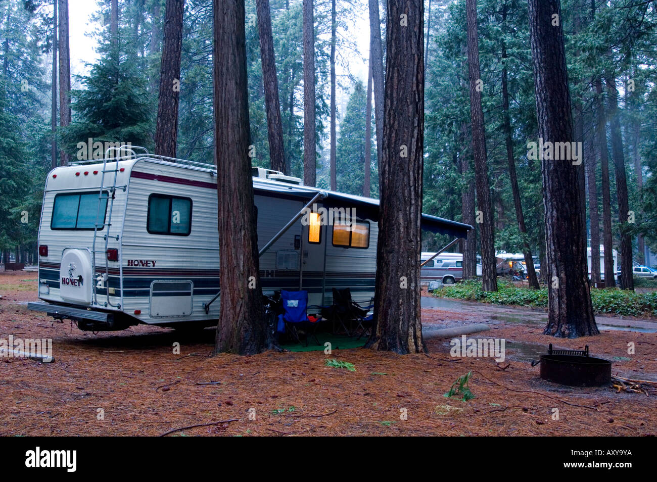 RV Camper Camping In Forest During Spring Rain Storm North Pines Campground Yosemite National Park California