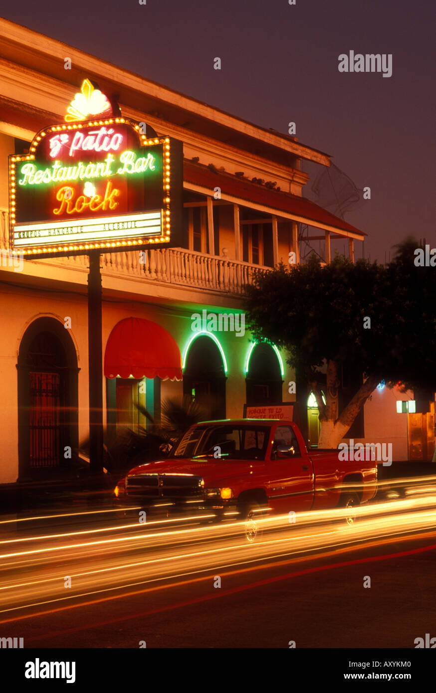 pickup truck parked outside night club in la paz baja mexico stock photo royalty free image. Black Bedroom Furniture Sets. Home Design Ideas