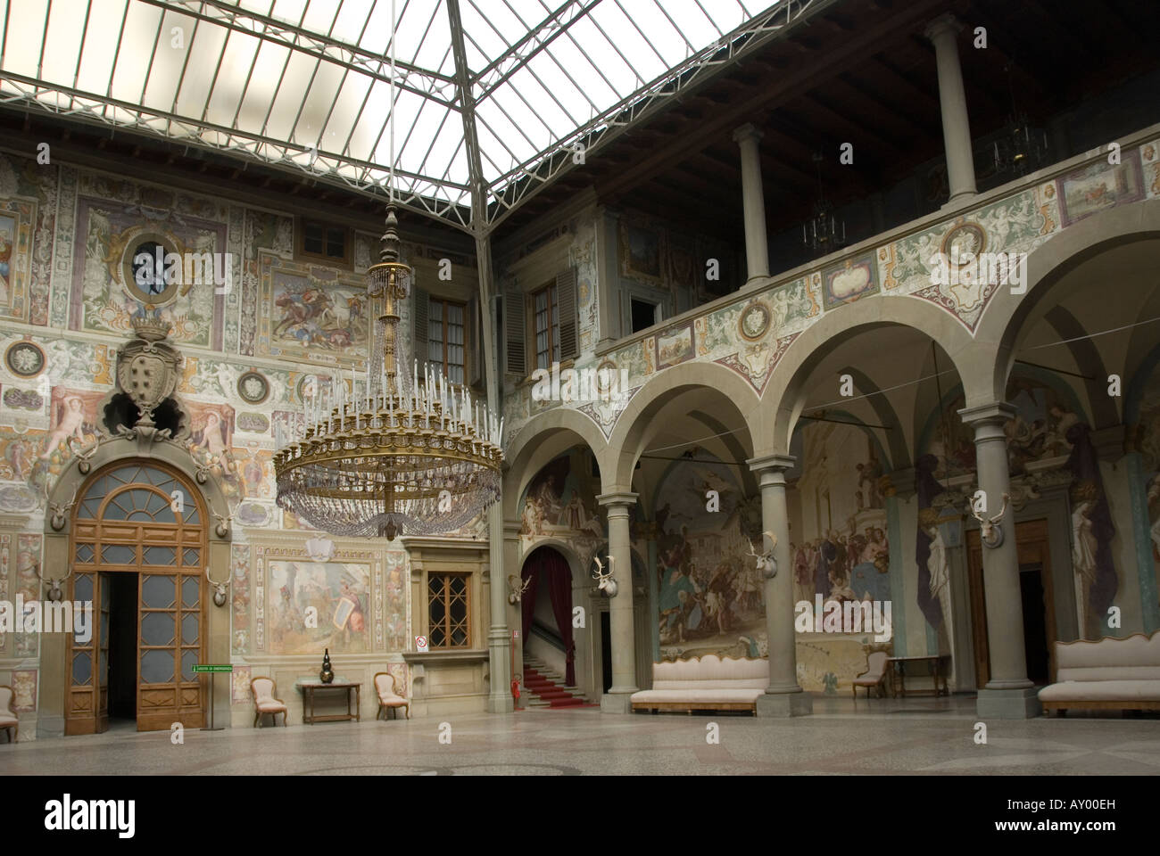 courtyard with the 19th century roof in the villa medici. Black Bedroom Furniture Sets. Home Design Ideas