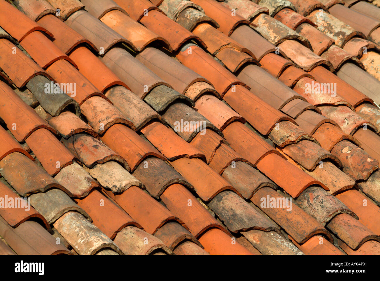 Close Up Of Traditional Burnt Umber Red Clay Roof Tiles