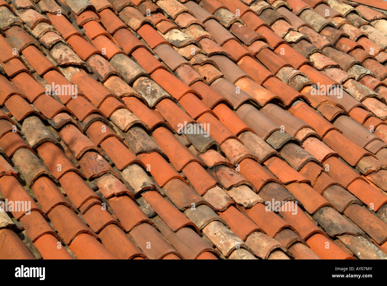 Close up of traditional burnt umber red clay roof tiles for Buy clay roof tiles online