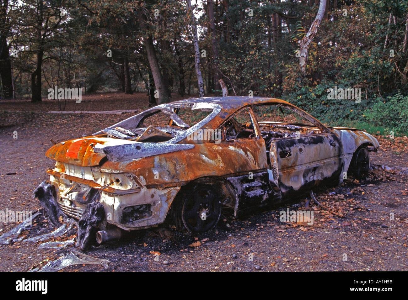 burnt out abandoned car on chobham common surrey uk europe