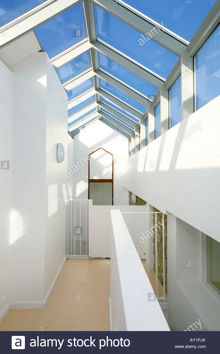 Corridor Roof Design: Architectural Designed Corridor With Glass Roof Stock