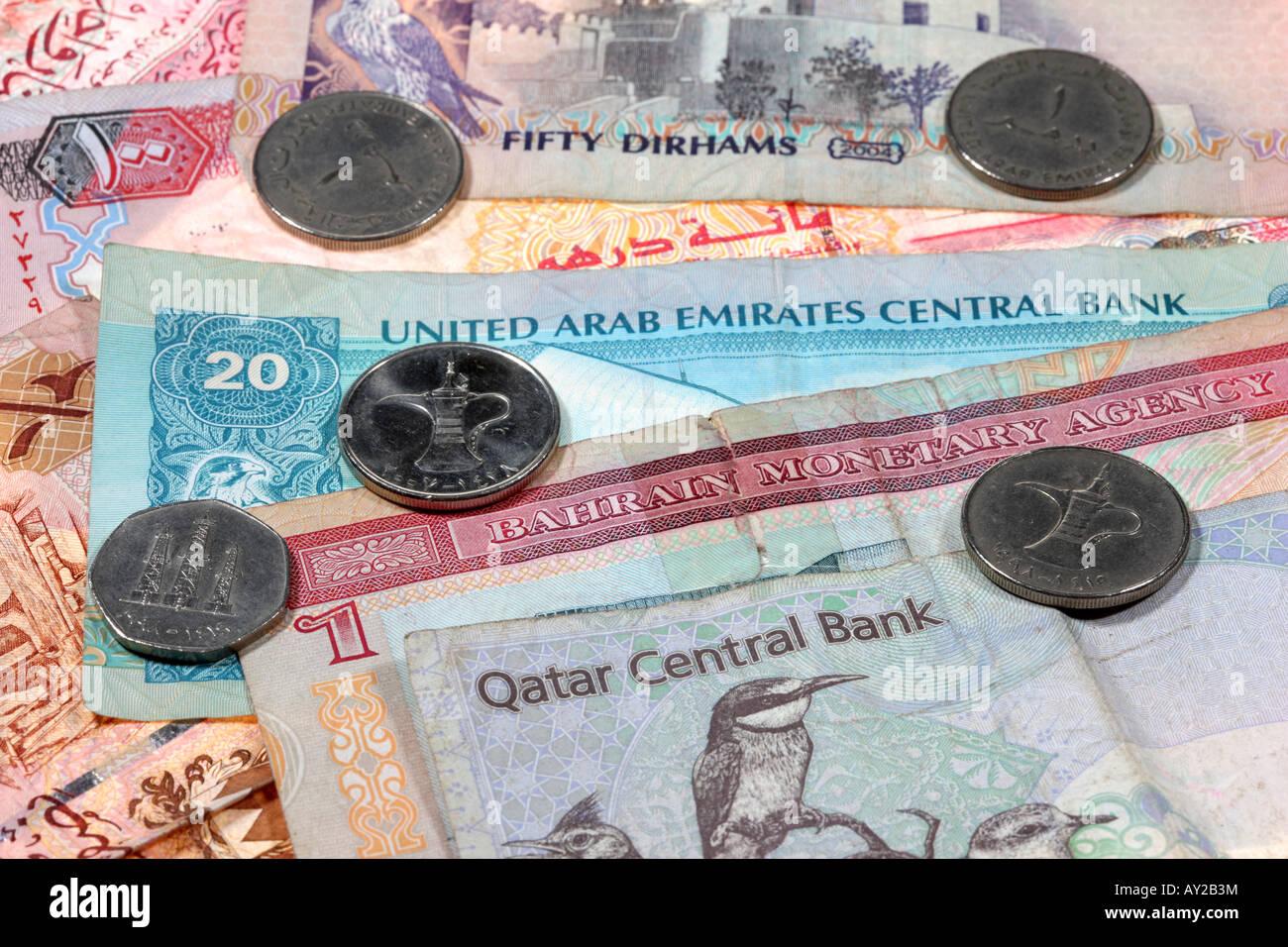 Dubai currency stock photos dubai currency stock images alamy money of qatar bahrain and the united arab emirates riyal dinar dirham stock biocorpaavc